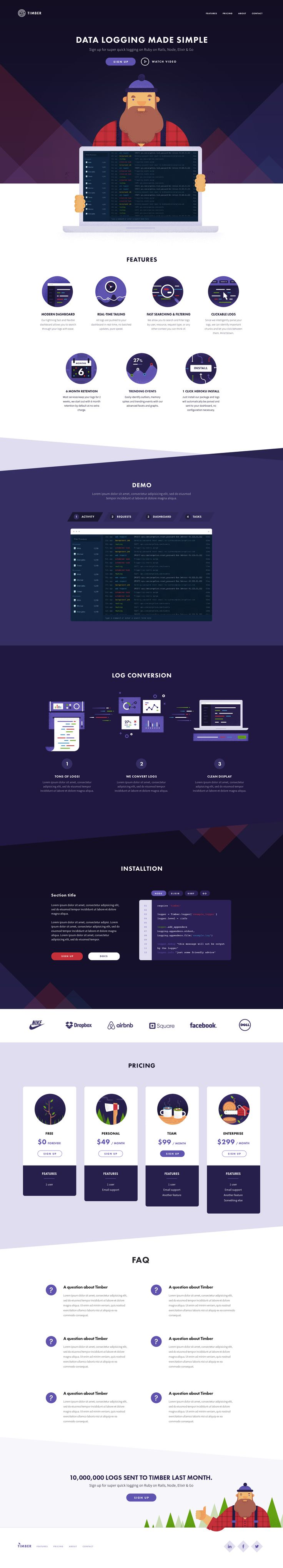 Timber Website – Landing page by Oli Lisher