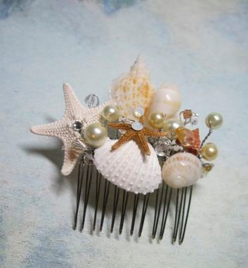 Wedding Hair Comb Bridal Natural Seashell and Starfish Hair Comb Headpiece with Pearls Crystals for Beach Weddings on Etsy, $58.00