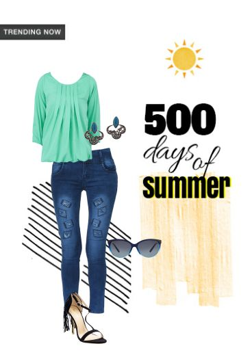 '500 Days of Summer' by me on Limeroad featuring Solids Green Tops, Black Sandals with Mid Rise Blue Jeans