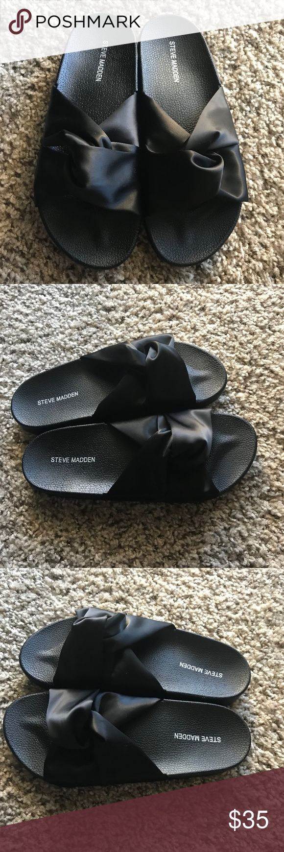 Steve Madden Black Ribbon Sandals NWOT Steve Madden Black Ribbon Sandals NWOT Never worn, excellent condition! No stains, rips, or holes Size:  8 Fits loosely Color: Coral  Make an offer! Steve Madden Shoes Sandals