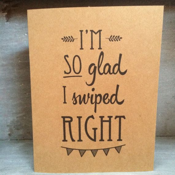 Swipe Right Tinder / Online Dating Card #onlinedating #tinder #match #bumble #eharmony #swiperight #valentine #love #card #greetingcard #humor #quirky #kraft #funny #inkybymisfitdesigns