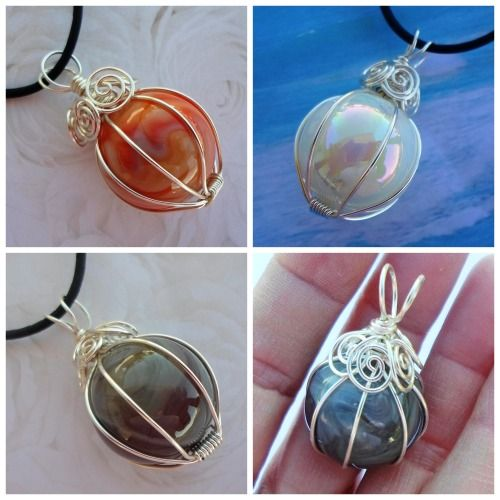 DIY Wire Wrapped Marble Pendant Tutorial from Artyzen Studio. This is an extremely detailed tutorial that would be good for wire wrapping any round bead, gem, stone etc… For wire wrapping odd shapes like sea glass and hundreds of wire DIYs go here.