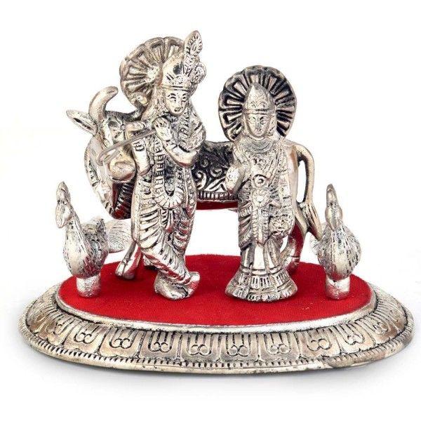 White Metal Lord Radha Krishna Idol with Cow 315