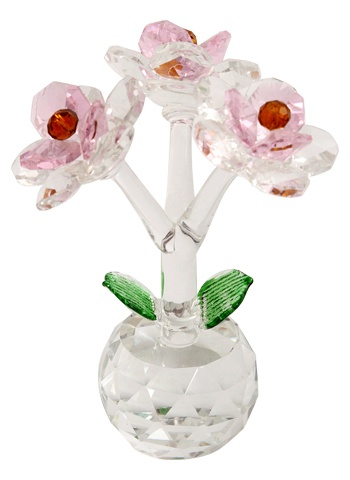 "CRYSTAL FLOWER- ""Eiliyah"" The Beautiful to grow in piece with love - "" Gamila ""Attractive crystal flower in pink color of crystal withthe touch of green leaves,having beautiful design and pattern with crystal based boll.Any sizes and color is available. www.giftzemporio.com"