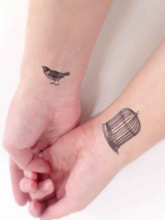 Bird Cage Temporary Tattoo - Bird Tattoo, Tiny Tattoos, Black and White, Wrist Tattoo