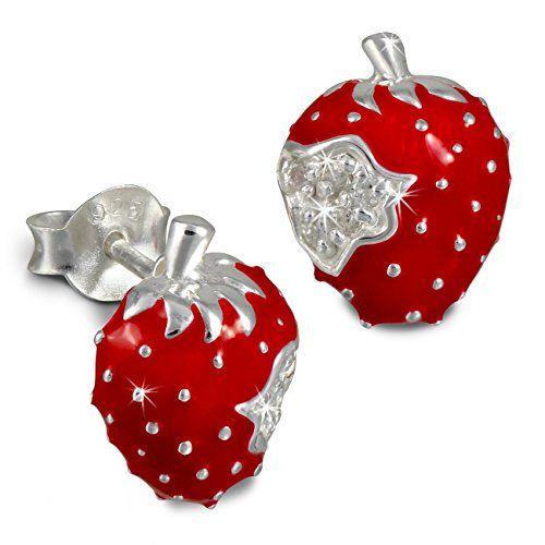 Kids SterlinX - orecchini con smalto-vernice e zirconi - fragola rosso - per bambini in argento Sterling 925 - D1SDO8115R