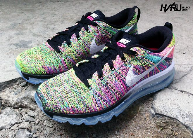 Nike Flyknit Air Max Noir / Rose Pow / Bleu De Chlore / Commandants Blancs