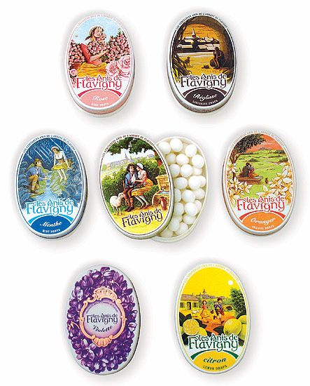 Beautiful tins of traditional anise seed candy from Les Anis de Flavigny. Find them near our register!