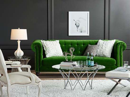 Emerald Green Statement Sofa With White Accent Chairs And Area Rug Find This Pin More On Dark Grey Walls