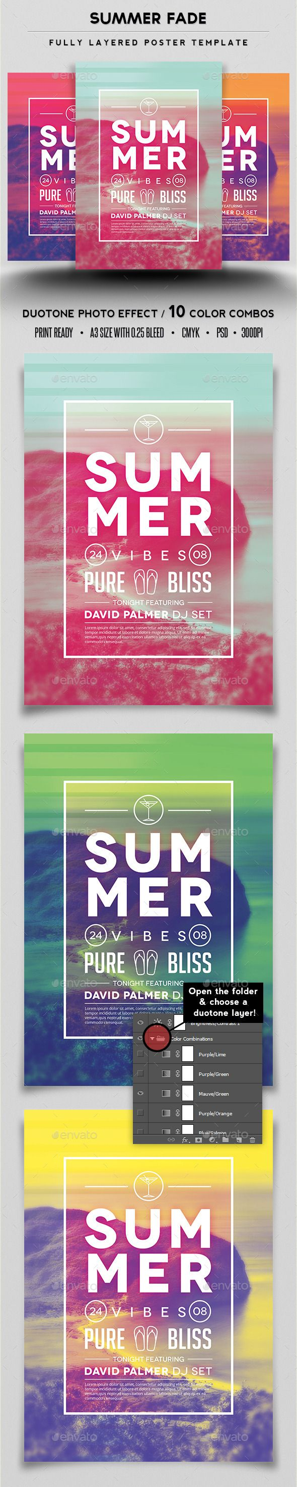 Summer Fade Poster Template #design Download: http://graphicriver.net/item/summer-fade-poster-template/12751977?ref=ksioks