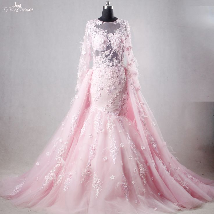RSW1112 Real Pictures Yiaibridal Long Sleeve Mermaid Pink Wedding Dress Detachable Train-in Wedd ...