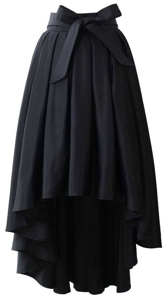 Bowknot Waterfall Skirt in Black