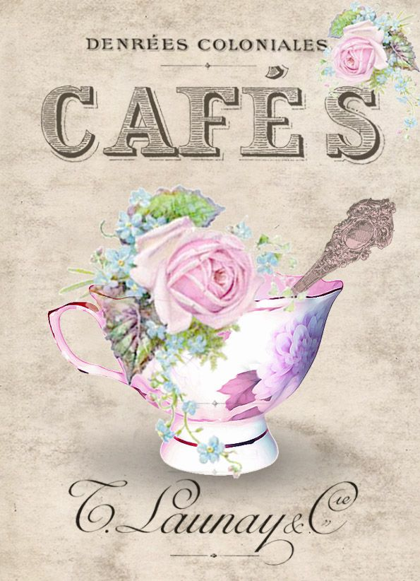 Cafe vintage Digital collage p1022 Free to use <3