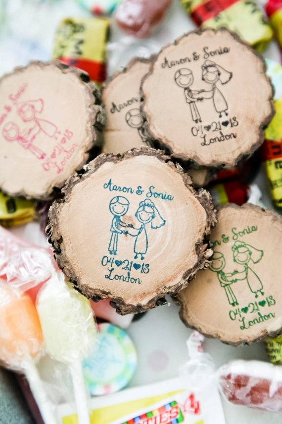 wood magnet wedding favors - could make into ornaments!!!!