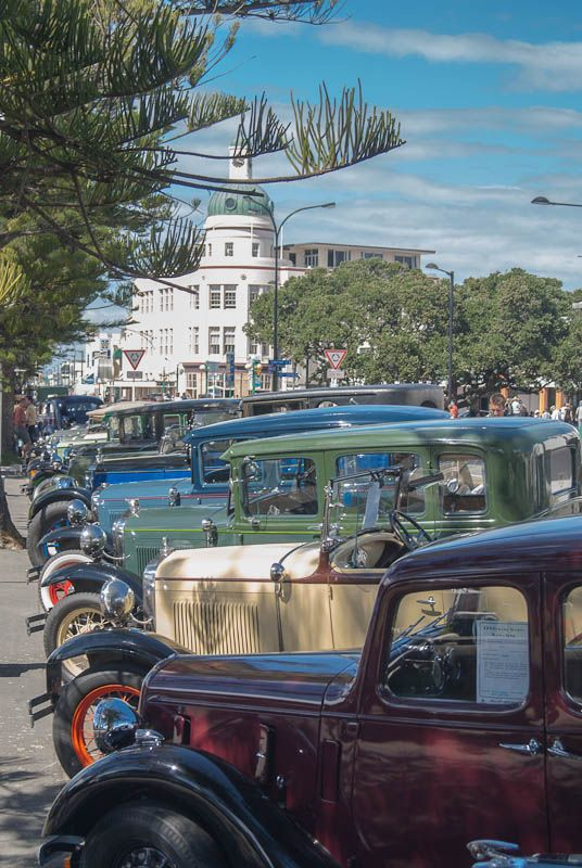 vintage cars for the Art Deco Festival in Napier, New Zealand // in the background is the T building (from 1937), also called The Dome, a city landmark