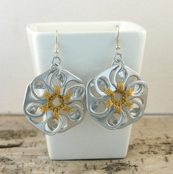 soda tab - rose gold pop tab flower earrings  pair  crochet by tabsolute, $10.00 - love this pair!  #sodatab
