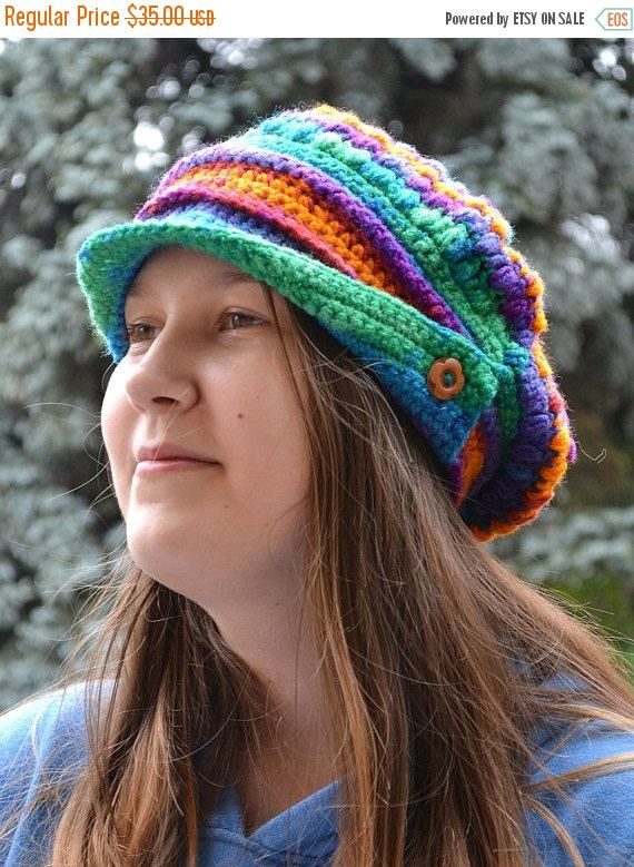 SALE 5% OFF PEAKED  beanie Crocheted Cap Slouchy Winter Fashion , very warm, rainbow, women slouchy hat,Girls Hat,unique gifts aut