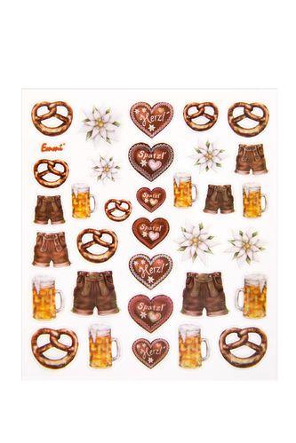 Aufkleber Stücker bayerische Motive (Breze, Lederhose, Maßkrug, Herzerl, Enzian), Bogen mit 30 Stück zum Basteln, Dekorieren und Verzieren