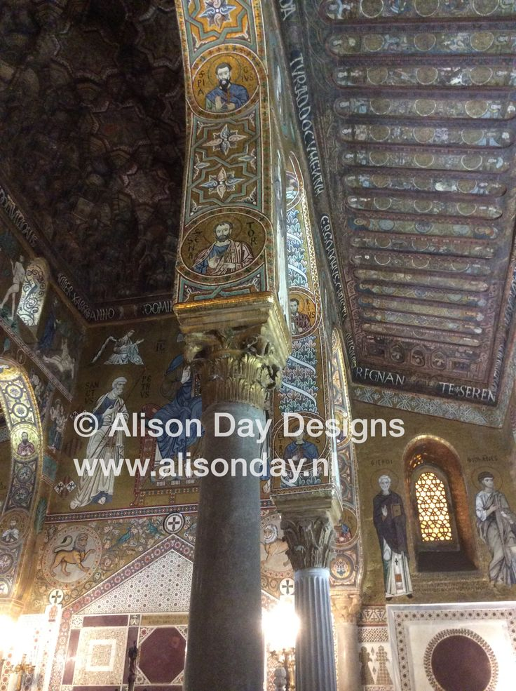 The amazing mosaics inside Capella Palatina, Sicily Italy.   AlisonDayDesigns: https://www.facebook.com/AlisonDayDesigns1