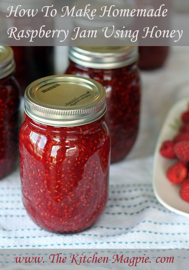 Homemade Raspberry Jam Using Honey #jams #preserving #canning