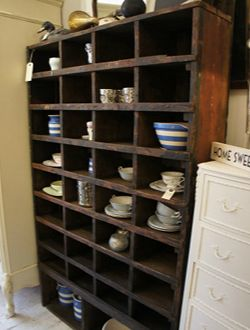 Vintage engineers pigeon hole shelving unit