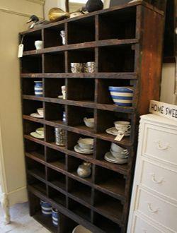 Vintage engineers pigeon hole shelving unit