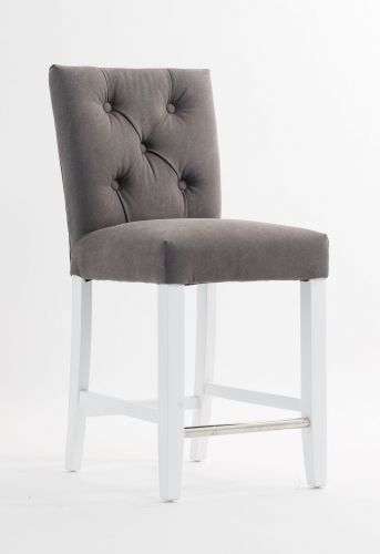 Lekker og klassisk utformet Imperia barstol med hvite ben og fotstøtte i krom. Barstolen har en lekker sølvring på stolryggen.