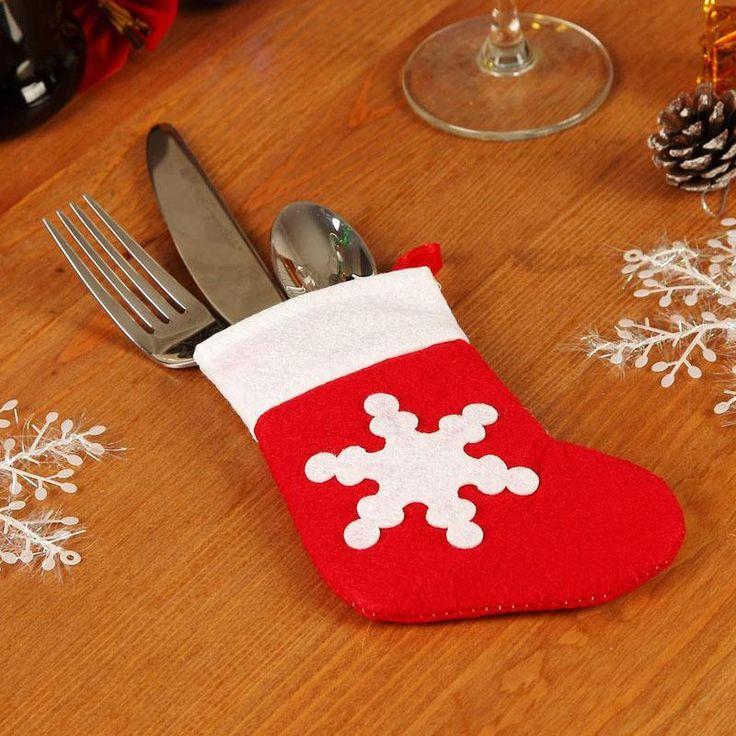 Tableware Knife Fork Holders Santa Socks Christmas Supplies Christmas Socks Snowflake Christmas Dishware Set Cutlery Bags Props 2120013 From Szloop, $0.38 | Dhgate.Com