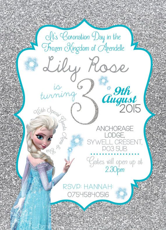 Disney Frozen birthday invitation Queen Elsa Anna Glitter Snowflake Princess