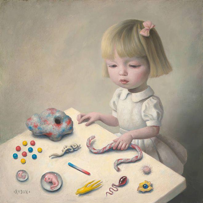 Mark Ryden - Experiment 118, 2015, oil on wood, courtesy of Paul Kasmin Gallery