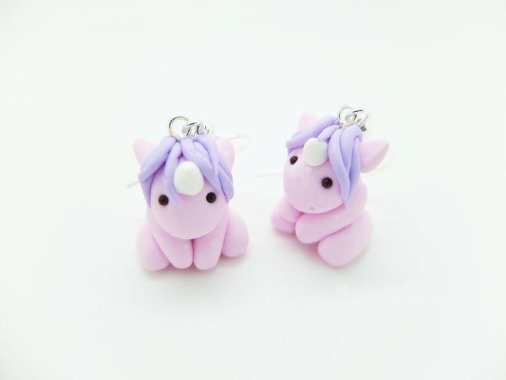 "Boucles d'oreilles ""Mini Licorne"" von Woolystore auf DaWanda.com"