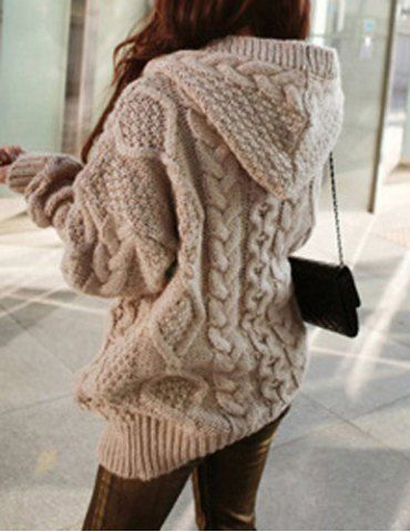 Stylish Cable-Knit Hooded Cardigan For WomenSweaters & Cardigans | RoseGal.com