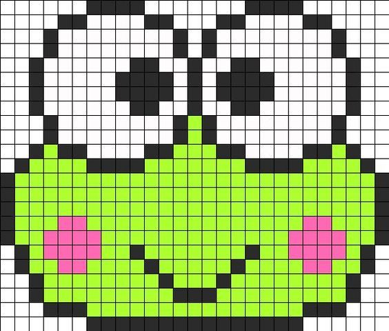 Keroppi Perler Bead Pattern | Perler Bead Patterns | Characters Fuse Bead Patterns: