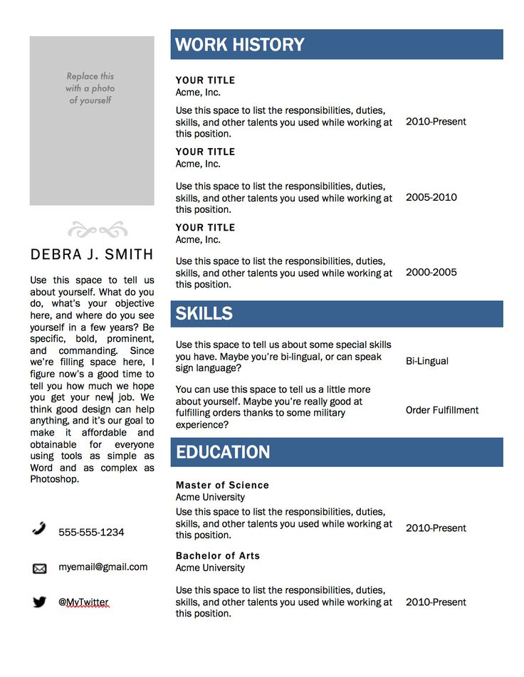 Word Resume Template Free Resume Template For Ms Word Cv Template