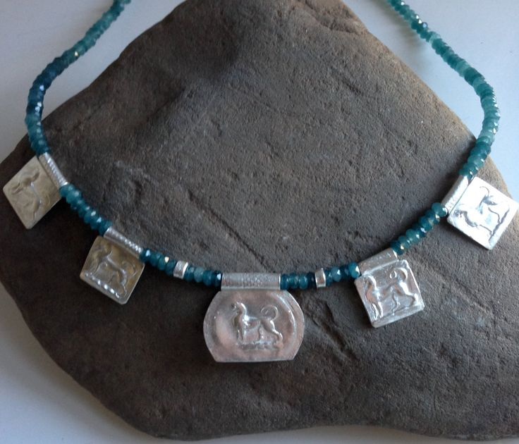 Ancient Necklace, Egyptian Necklace, Apatite Necklace, Charm Necklace, Beaded Necklace, Silver Necklace, OOAK Necklace by endivaartisan on Etsy