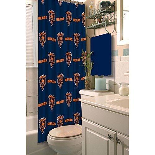 NFL Bears Shower Curtain 72 X 72 Football Themed Bedding Sports Patterned Team Logo Fan Merchandise Bathroom Curtain Athletic Team Spirit Fan White Burnt Orange Navy Blue Polyester
