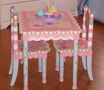 Princess Tea anyone? Perfect Inspiration for Madison's table and chair set for Christmas :)