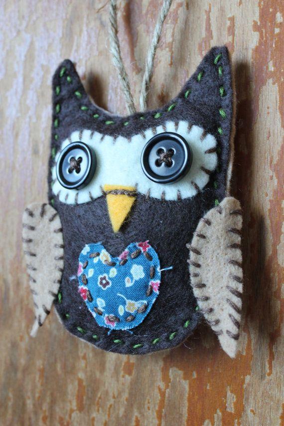 autumn owl ornament decoration by DeepintheArtDesign on Etsy,