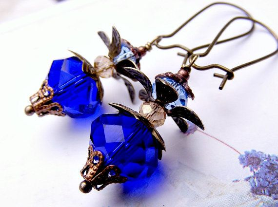 Ultramarine blue earrings blue dangle earrings by artemisartdesign