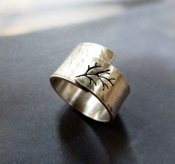 Rustic autumn tree ring Sterling silver ring hammered by Mirma, $81.00