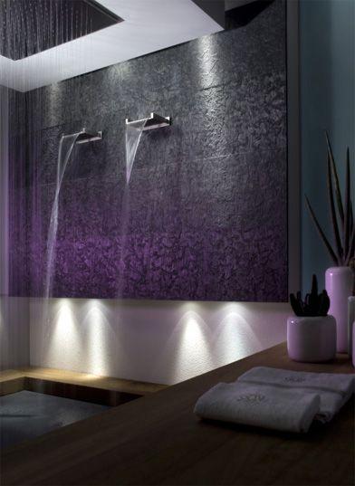 Bathroom.  Waterfall shower.  Cascade shower.  Tub filler.  Gessi prodotti