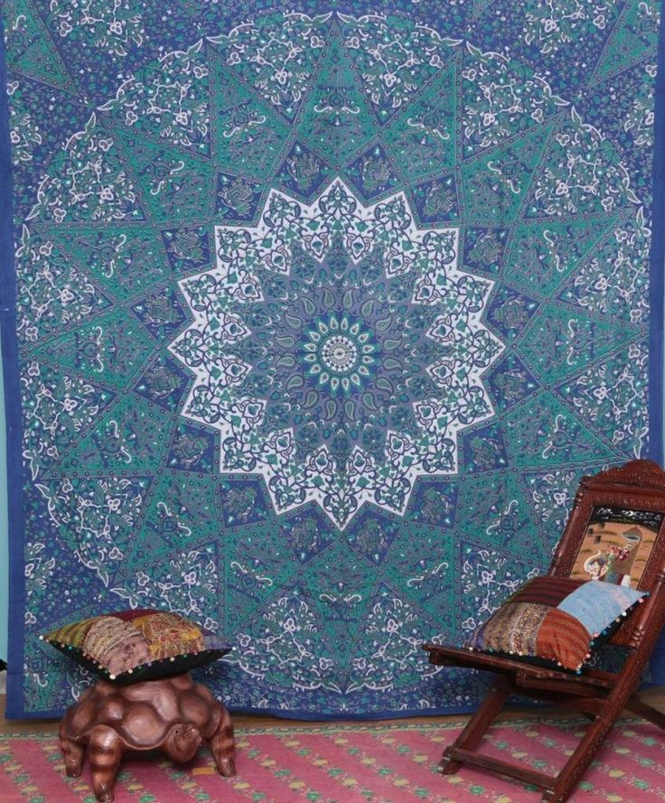 - 3 Day U.S. Free Shipping - Fabric: 100% Cotton Fabric, Screen Printed Design..Usage: Bed Cover, Tapestry, Curtain, Wall Hanging - Measures approximately 90 x 108 inch 220 x 240cm - (the size of a do