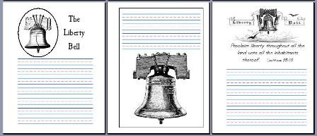 liberty bell notebooking pages from The Notebooking Fairy