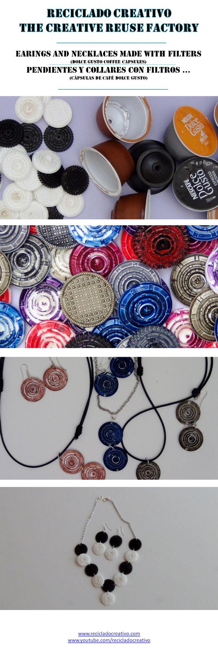 15.Earings and necklaces made with recycled filters (Dolce Gusto Capsules) - Pendientes y collares hechos con filtros de cápsulas de café Dolce Gusto reciclados