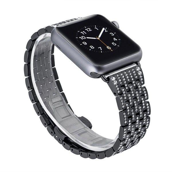Luca Lucino Diamonds Armband Fur Apple Watch 38 40 Mm Schwarz Armband Schwarz Und Modisch