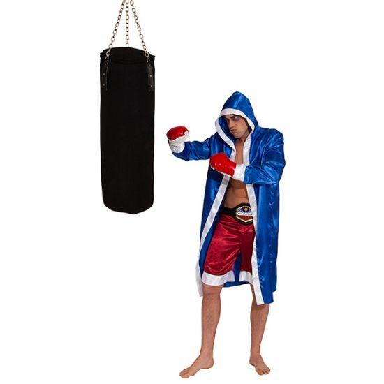 Bokser verkleedkleding voor heren  Bokser kostuum voor volwassenen. Deze outfit bestaat uit een blauwe satijnen cape rode broek en 1 paar bokshandschoenen. Het bokser kostuum is one size ongeveer L/XL.  EUR 49.95  Meer informatie