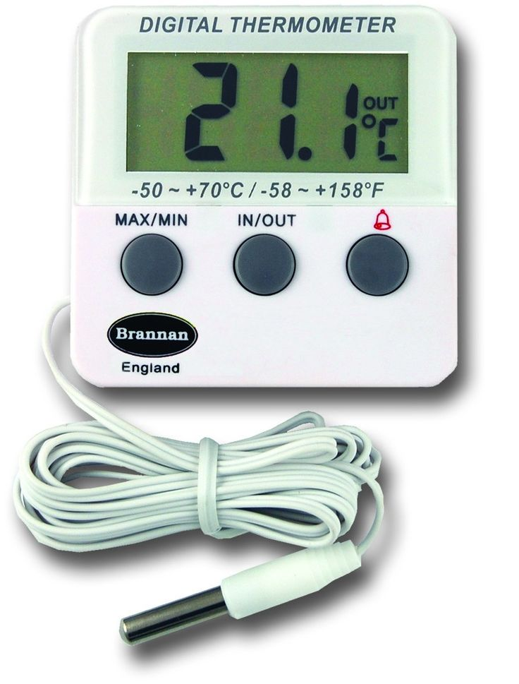 Digital Fridge Thermometer with warning alarm, probe & max min feature and high / low temperature alarm setting. Ideally suited to read temperatures in a fridge or freezer, or outdoor temperature and room temperature simultaneously.