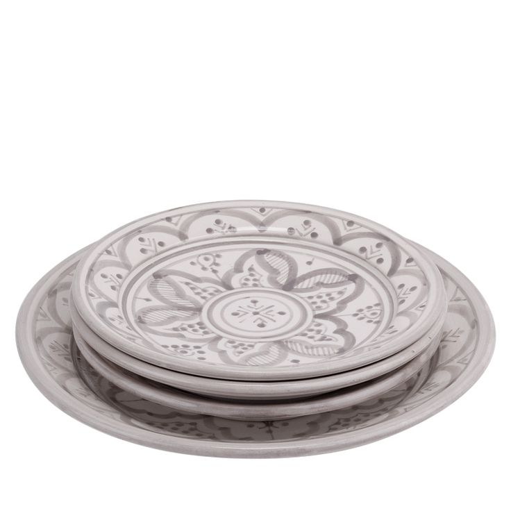 Ceramic Plates Moroccan Pattern Grey