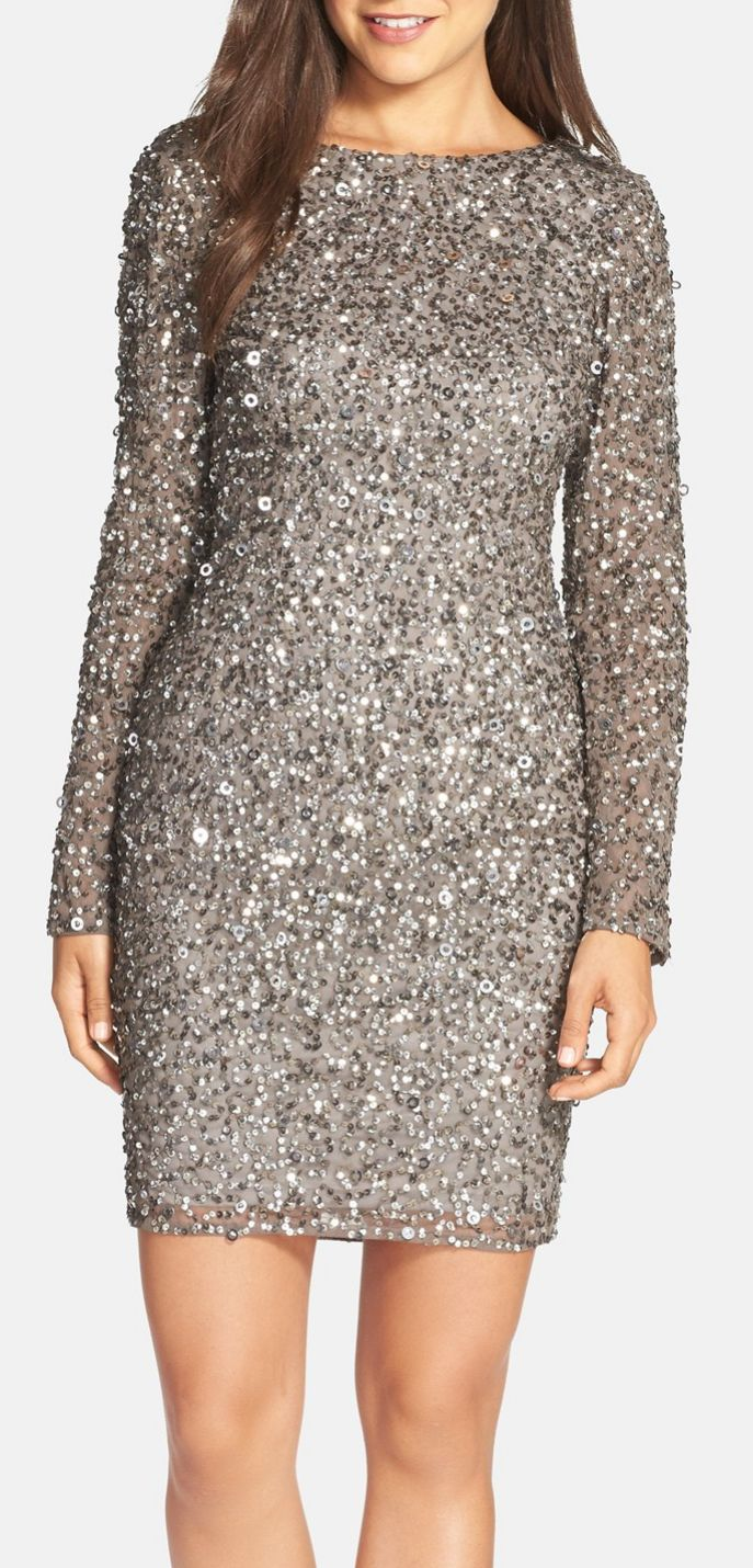 Need this for holiday party season! This is the perfect silver sequin cocktail dress. Love that it has long sleeves for cold winter nights but is still fun and sexy. Also comes in petite sizes!