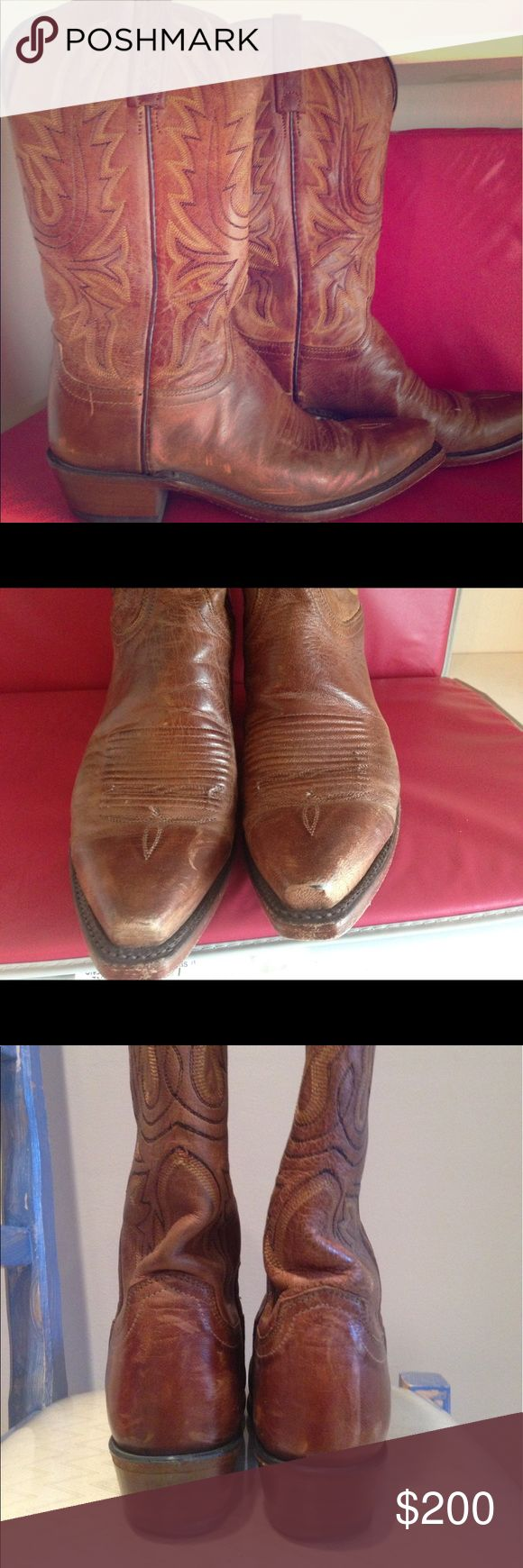 Lucchesse cowboy boot - one hour flash sale!!! Authentic Lucchese cowboy boots. Tan goat leather.  Pre-loved but in impecable brand new conditions. Worn just a couple of times. In their original box. Definitely a statement and elegant boot. Lucchese Shoes Heeled Boots